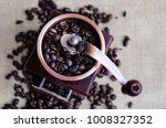 coffee beans and a wooden...