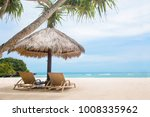 sun loungers on a white... | Shutterstock . vector #1008335962