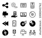 multimedia icons. set of 16... | Shutterstock .eps vector #1008343762