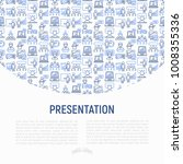 presentation concept with thin... | Shutterstock .eps vector #1008355336
