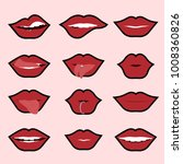 red woman's lip icons set... | Shutterstock .eps vector #1008360826