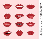 red woman's lip icons set... | Shutterstock .eps vector #1008360832