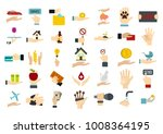 object in hand icon set. flat... | Shutterstock .eps vector #1008364195