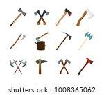 axe icon set. flat set of axe...