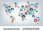 people world map  connection ... | Shutterstock .eps vector #1008369085