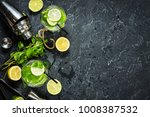 mojito cocktail with lime and... | Shutterstock . vector #1008387532