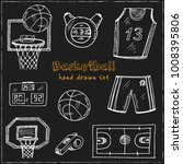 basketball hand drawn doodle... | Shutterstock .eps vector #1008395806