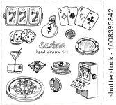 casino. hand drawn doodle set.... | Shutterstock .eps vector #1008395842