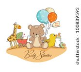 baby shower card with toys | Shutterstock .eps vector #100839592