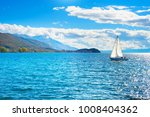 yacht on a lake in the bright... | Shutterstock . vector #1008404362