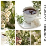 Lily of the valley and a cup of coffee - stock photo