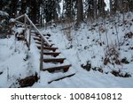 wooden staircase in the winter... | Shutterstock . vector #1008410812
