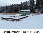 old small boat pier in winter... | Shutterstock . vector #1008410836