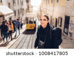 young hipster tourist street... | Shutterstock . vector #1008417805