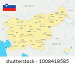 slovenia map and flag   high... | Shutterstock .eps vector #1008418585
