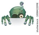 cartoon zombie peeking out of...   Shutterstock .eps vector #1008422098