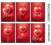 valentines day cards set or... | Shutterstock .eps vector #1008422506