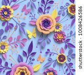3d rendering  paper art  rose...   Shutterstock . vector #1008426586