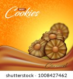 buttery cookies with caramel on ... | Shutterstock .eps vector #1008427462