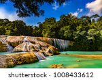 """Small photo of Mexico. The Agua Azul cascades (""""Blue-water Falls"""", located in the southern state of Chiapas) - the largest cataracts"""
