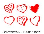 vector set of red hearts shape. ... | Shutterstock .eps vector #1008441595