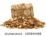 old wooden chest in chains on a ... | Shutterstock . vector #100844488