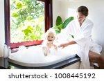 little child taking bubble bath ... | Shutterstock . vector #1008445192
