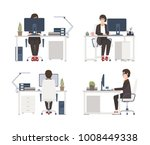 woman working on computer.... | Shutterstock .eps vector #1008449338