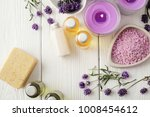 lavender spa cosmetics  flat...   Shutterstock . vector #1008454612