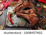 delicious barbecue lamb on rib...   Shutterstock . vector #1008457402