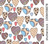 doodle textured hearts seamless ... | Shutterstock .eps vector #1008458878