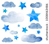 night sky with blue ink stars...   Shutterstock . vector #1008463486