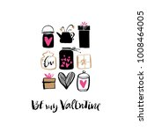 be my valentine. heart  gift... | Shutterstock .eps vector #1008464005