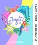 tropical hawaiian design. round ...   Shutterstock .eps vector #1008466966
