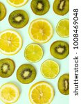 cut kiwi  lime and lemon citrus ... | Shutterstock . vector #1008469048