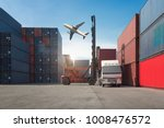industrial container yard with...   Shutterstock . vector #1008476572