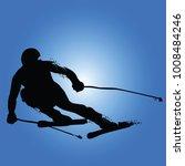 alpine skiing silhouette... | Shutterstock .eps vector #1008484246