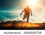 woman athlete runs on a dirty... | Shutterstock . vector #1008500728