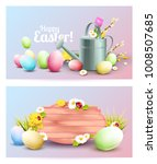 set of two easter headers or...   Shutterstock .eps vector #1008507685