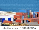 cargo container stack in port... | Shutterstock . vector #1008508366