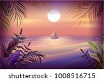 night landscape of tropical... | Shutterstock .eps vector #1008516715