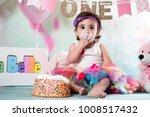 baby girl cake smash | Shutterstock . vector #1008517432