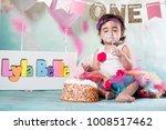 baby girl cake smash | Shutterstock . vector #1008517462