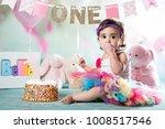 baby girl cake smash | Shutterstock . vector #1008517546