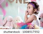 baby girl cake smash | Shutterstock . vector #1008517552