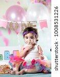 baby girl cake smash | Shutterstock . vector #1008531226