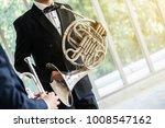 french horn music instrument... | Shutterstock . vector #1008547162