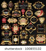 vector set of labels with gold... | Shutterstock .eps vector #100855132