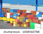 port cargo crane and container  ... | Shutterstock . vector #1008560788