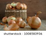 onion. large heads of onions... | Shutterstock . vector #1008583936